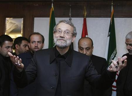 Iran's Parliament speaker Ali Larijani gestures upon his arrival to meet with officials from Palestinian factions at a hotel in Beirut November 23, 2012. REUTERS/Mohamed Azakir