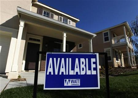 A newly constructed home available for sale is pictured in a new housing development area in Vista, California March 20, 2012. REUTERS/Mike Blake/Files