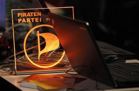 A sign of the Pirate Party (Piratenpartei) is pictured aft their party meeting in Bochum November 24, 2012. REUTERS/Ina Fassbender (GERMANY - Tags: POLITICS)