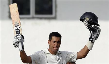 New Zealand's captain Ross Taylor celebrates after scoring a century during the first day of the second and final test cricket match against Sri Lanka in Colombo, November 25, 2012. REUTERS/Dinuka Liyanawatte