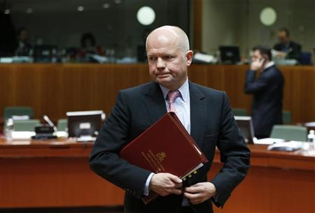 British Foreign Secretary William Hague arrives at a European Union foreign ministers' meeting in Brussels November 19, 2012. REUTERS/Francois Lenoir