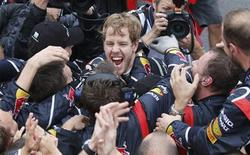 Red Bull Formula One driver Sebastian Vettel of Germany celebrates winning the world championship with his team after finishing sixth in the Brazilian F1 Grand Prix at Interlagos circuit in Sao Paulo November 25, 2012. Vettel became Formula One's youngest triple world champion at the age of 25 at the Brazilian Grand Prix on Sunday. REUTERS/Sergio Moraes