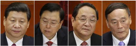 A combination picture shows Xi Jinping, the new general secretary of Chinese Communist Party and China's new Politburo Standing Committee members, Wang Qishan, Yu Zhengsheng and Zhang Dejiang attending the 18th National Congress of the Communist Party of China in Beijing, in this November 15, 2012 file photo. In China they are known as ''princelings'' - the privileged children of the revolutionary founders of the People's Republic of China. And in the generational leadership change that just occurred in Beijing, it could not have been clearer that having the right family bloodlines is among the most important attributes an ambitious cadre could possess. In addition to Xi, 59, those on the committee with familial ties to the country's red founders are Vice Premier Wang Qishan, who will lead the party's efforts to contain corruption; former Shanghai party secretary Yu Zhengsheng, 67, the oldest member on the committee; and Zhang Dejiang, who studied economics in North Korea and replaced Bo as party boss in Chongqing.REUTERS/Jason Lee/Files