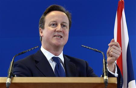 Britain's Prime Minister David Cameron holds a news conference at the end of an EU leaders summit discussing the EU's long-term budget at the European Union (EU) council headquarters in Brussels November 23, 2012. REUTERS/Eric Vidal