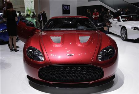 A new V12 Zagato model car is displayed on the Aston Martin booth during the first media day of the Geneva Auto Show at the Palexpo in Geneva in this March 6, 2012 file photo. Aston Martin stands at the centre of an international takeover battle after Indian motors group Mahindra trumped an Italian bid for half of the British luxury car maker. Italian private equity fund Investindustrial reached an agreement on November 22, 2012 with the owner, Kuwaiti investment house Investment Dar, but Mahindra and Mahindra made a higher offer on November 23, 2012, leaving the fate of the 98-year old icon of British motor engineering hanging in the balance, sources familiar with the discussions said. REUTERS/Denis Balibouse/Files