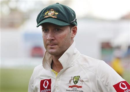 Australia's captain Michael Clarke reacts as he stands on the Adelaide cricket ground at the end of the fifth day's play of the second test cricket match against South Africa November 26, 2012. REUTERS/Regi Varghese
