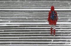 Женщина поднимается по заснеженной лестнице в Москве 26 декабря 2011 года. На рабочей неделе Москву ждут легкие морозы и осадки, в пятницу в столице резко потеплеет, ожидают синоптики. REUTERS/Anton Golubev