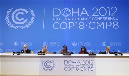 South Africa's Foreign Minister and President of the (COP 17) Maite Nkoana-Mashabane speaks at the opening session of the United Nations Climate Change (COP18) in Doha November 26, 2012. REUTERS/Mohammed Dabbous