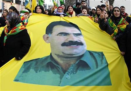 File photo of demonstrators taking part in a protest in favor of jailed Kurdistan Workers' Party (PKK) leader Abdullah Ocalan in Strasbourg February 12, 2011. REUTERS/Vincent Kessler