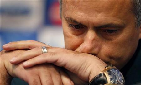 Real Madrid coach Jose Mourinho listens to a question during a news conference at Manchester City's Etihad Stadium in Manchester, northern England November 20, 2012. REUTERS/Phil Noble