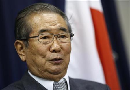 11月26日、日本維新の会の石原慎太郎代表は、ロイターなどのインタビューに応じ、衆院選で「自民、公明に過半数をとらせたら結局同じことだ」と述べ、強力な「第二極」を作り、「強力なキャスティングボードになりたい」と述べた。都内で同日撮影(2012年 ロイター/Issei Kato)