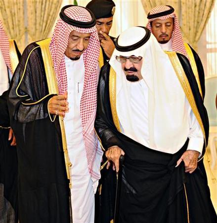 File photo of Saudi King Abdullah (front R) talking with Saudi Crown Prince Salman bin Abdel-Aziz in Taif June 19, 2012. REUTERS/Saudi Press Agency/Handout