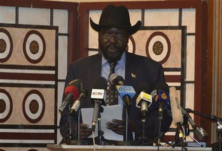 South Sudan's President Salva Kiir speaks after signing a border deal with Sudan to secure their shared border and boost trade in Ethiopia's capital Addis Ababa September 27, 2012. REUTERS/Tiksa Negeri
