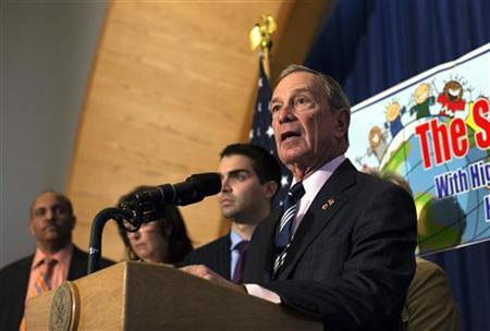 New York City Mayor Michael Bloomberg speaks during a press conference announcing the re-opening of 12 schools in the Rockaways and Brooklyn at P.S. 43 in the Far Rockaway section of the Queens borough of New York November 19, 2012. REUTERS/Shannon Stapleton