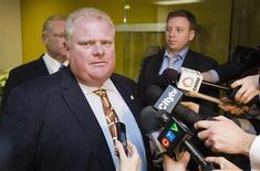 Mayor Rob Ford arrives at his office in Toronto November 26, 2012. REUTERS/Mark Blinch