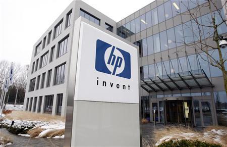 A logo of HP is seen outside Hewlett-Packard Belgian headquarters in Diegem, near Brussels, January 12, 2010. REUTERS/Thierry Roge