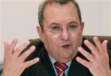 Israel's Defence Minister Ehud Barak addresses during a news conference at the 48th Paris Air Show at the Le Bourget airport near Paris, June 15, 2009. REUTERS/Pascal Rossignol