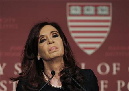 Argentina's President Cristina Fernandez de Kirchner delivers a public address at the John F. Kennedy Jr. Forum at Harvard University in Cambridge, Massachusetts September 27, 2012. REUTERS/Jessica Rinaldi