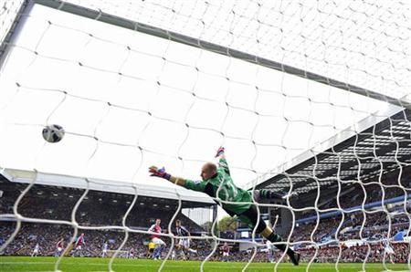 West Bromwich Albion's Shane Long (C) shoots past Aston Villa's goalkeeper Brad Guzan (R), but the goal was disallowed, during their English Premier League soccer match at Villa Park in Birmingham September 30, 2012. REUTERS/Toby Melville