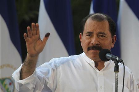 Nicaragua's President Daniel Ortega speaks to supporters after casting his vote in the municipal elections at a polling station in Managua November 4, 2012. REUTERS/Oswaldo Rivas