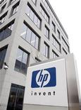 A logo of HP is seen outside Hewlett-Packard Belgian headquarters in Diegem, near Brussels January 12, 2010.