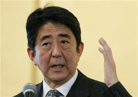 Shinzo Abe, the head of Japan's main opposition Liberal Democratic Party, speaks during a lecture entitled,''The path to the rejuvenation of Japan,'' in Tokyo November 15, 2012. REUTERS/Yuriko Nakao