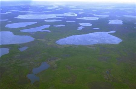 An aerial view shows thermokarst lakes outside the town of Chersky in northeast Siberia August 28, 2007. REUTERS/Dmitry Solovyov/Files