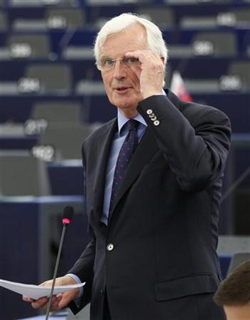 European Commissioner for Internal Market and Services Michel Barnier addresses the European Parliament during a debate on proposals for a European banking union in Strasbourg, September 12, 2012. REUTERS/Vincent Kessler