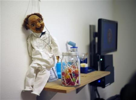 A puppet of a doctor is pictured at the clinic of paediatrician Thomas Fischbach in the western town of Solingen September 4, 2012. REUTERS/Ina Fassbender