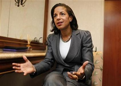 United States Ambassador to the United Nations Susan Rice speaks with Reuters at the B'Nai Torah Congregation in Boca Raton, Florida, in this May 10, 2012 file photo. REUTERS/Joe Skipper/Files