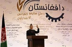 Afghanistan's President Hamid Karzai speaks during the Afghanistan National Industrial Exhibition in Kabul November 27, 2012. REUTERS/Mohammad Ismail