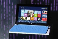 A Microsoft Surface tablet PC is displayed on a stand during its launch event with Microsoft Windows 8 in New York October 25, 2012. REUTERS/Lucas Jackson