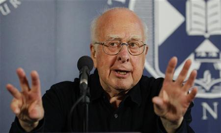 Professor Peter Higgs speaks during a news conference at the launch of The University of Edinburgh's new Higgs Centre for Theoretical Physics, Scotland July 6, 2012. REUTERS/David Moir