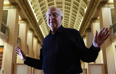 Professor Peter Higgs poses for a photograph following a news conference at the launch of The University of Edinburgh's new Higgs Centre for Theoretical Physics, Scotland July 6, 2012. REUTERS/David Moir/Files