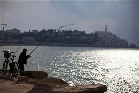 A man fishes along the shore of the Mediterranean sea as the port of Jaffa is seen in the background, in Tel Aviv November 22, 2012. REUTERS/Nir Elias