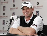PGA golfer Steve Stricker answers a question about using a long putter during a media conference at the World Challenge golf tournament in Thousand Oaks, California, November 27, 2012. REUTERS/Danny Moloshok