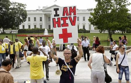 Aaron Laxton of St. Louis, Missouri, takes part in a demonstration in front of the White House in Washington July 24, 2012. REUTERS/Kevin Lamarque/Files