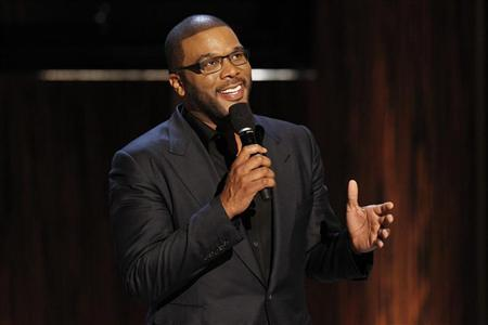 Actor and director Tyler Perry speaks during the taping of the Spike TV special tribute ''Eddie Murphy: One Night Only'' at the Saban theatre in Beverly Hills, California November 3, 2012. REUTERS/Mario Anzuoni
