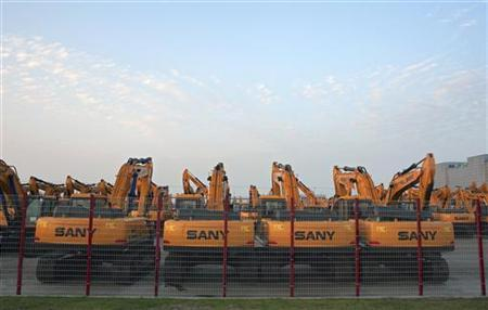 Heavy equipments are seen at a factory of Sany Heavy Industry Co. Ltd on the outskirts of Shanghai, October 26, 2012. REUTERS/Darcy Holdorf/Files