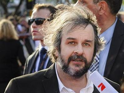 Director Peter Jackson of New Zealand, talks to a TV crew on the red carpet at the world premiere of 'The Hobbit - An Unexpected Journey' in Wellington November 28, 2012. REUTERS/Mark Coote