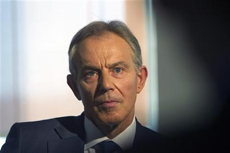 Middle East envoy Tony Blair pauses during an interview with Reuters in Jerusalem November 7, 2012. REUTERS/Ronen Zvulun
