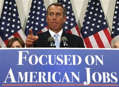 U.S. House Speaker John Boehner (R-OH) speaks during a GOP news conference on the ''fiscal cliff'', on Capitol Hill in Washington, November 28, 2012. Boehner voiced optimism that Republicans could broker a deal with the White House to avoid year-end austerity measures, saying on Wednesday that Republicans were willing to put revenues on the table if Democrats agreed to spending cuts. REUTERS/Yuri Gripas