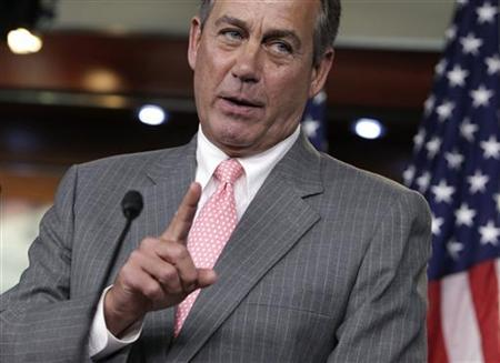 U.S. House Speaker John Boehner (R-OH) gestures at a news conference on President Barack Obama's signature healthcare law on Capitol Hill in Washington June 28, 2012. REUTERS/Yuri Gripas (UNITED STATES - Tags: POLITICS HEALTH)