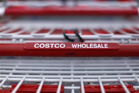 Costco shopping carts await customers outside a Costco Warehouse in Carlsbad, California February 28, 2012. REUTERS/ Mike Blake
