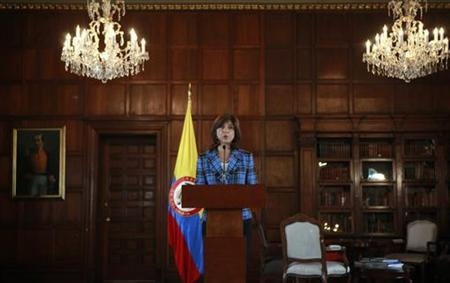 Colombia's Foreign Minister Maria Angela Holguin delivers a speech during a news conference in Bogota November 28, 2012. REUTERS/John Vizcaino
