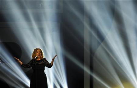 Adele performs during the BRIT Music Awards at the O2 Arena in London February 21, 2012. REUTERS/Dylan Martinez/Files
