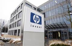A logo of HP is seen outside Hewlett-Packard Belgian headquarters in Diegem, near Brussels, January 12, 2010. REUTERS/Thierry Roge