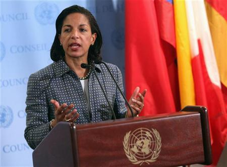 U.S. ambassador to the United Nations (U.N.) Susan Rice speaks with the media after Security Council consultations at U.N. headquarters in New York June 7, 2012. REUTERS/Allison Joyce