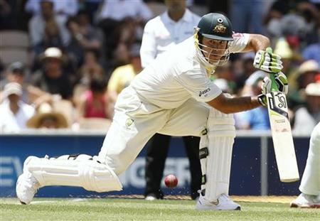 Australia's Ricky Ponting plays a shot during the first day of the fourth test cricket match against India in Adelaide January 24, 2012. REUTERS/Brandon Malone/Files