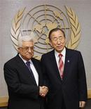 Presidente palestino Mahmoud Abbas se encontrou com secretário-geral da ONU Ban Ki-moon em Nova York, antes de votação em que Palestina tenta aprovar proposta de reconhecimento indireto do Estado. 28/11/2012 REUTERS/Chip East